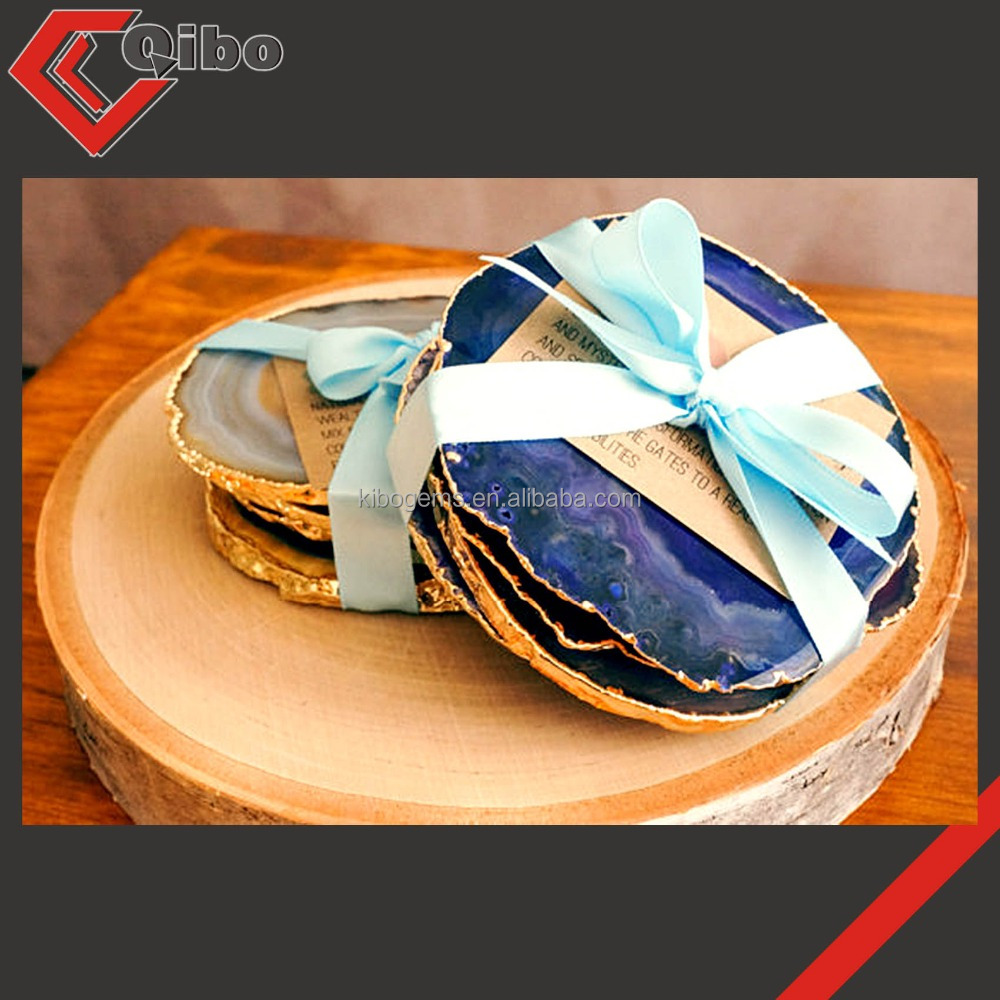 Agate Coasters With Gold Rim Coaster Stone Wedding Gift Product On Alibaba
