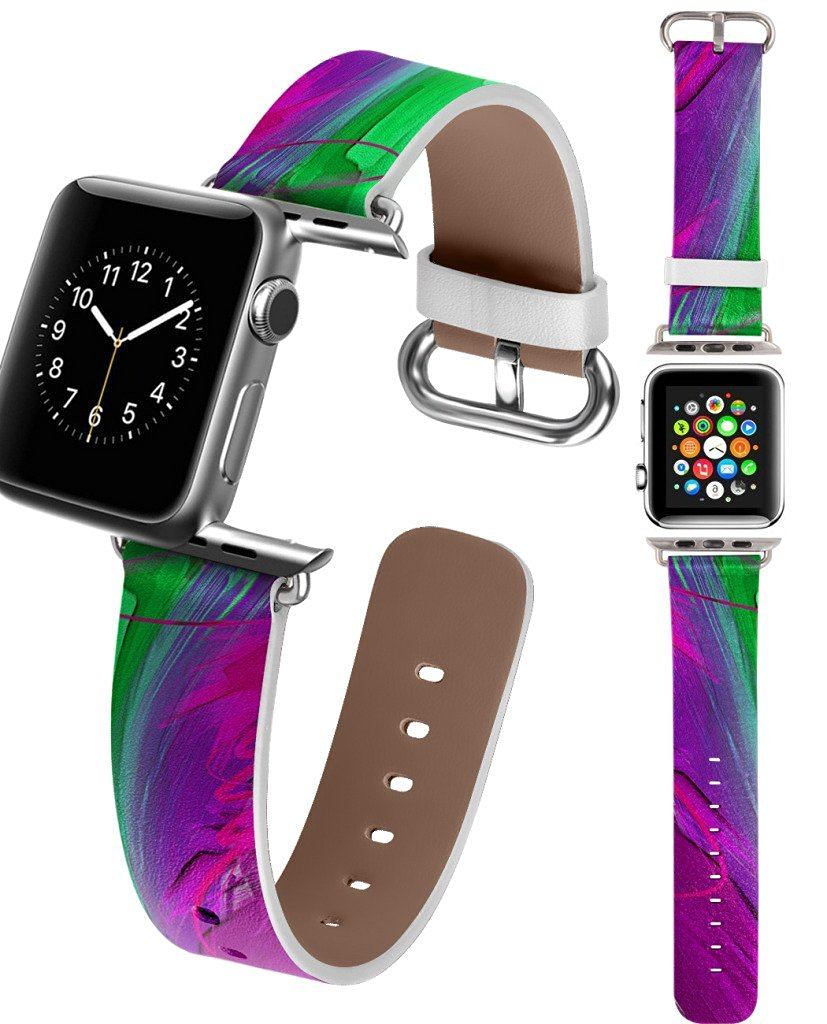 42mm Apple Watch Band for Women, UKASE iWatch Strap with Design of Green Purple Painting