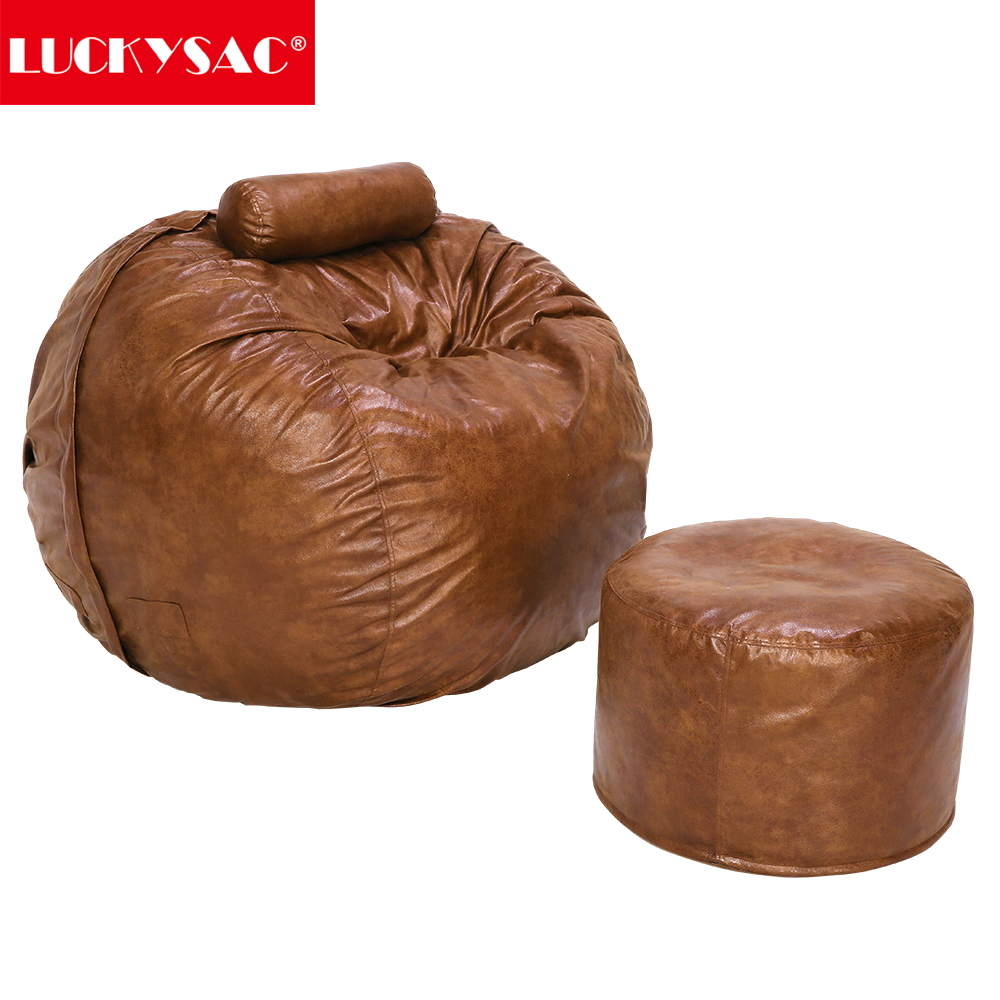 WITH STOOL REST SET !!!!! LARGE LUSH & SOFT SHAGGY ALPACA FUR BEAN BAG CLOUD BEAN BAG CHAIR