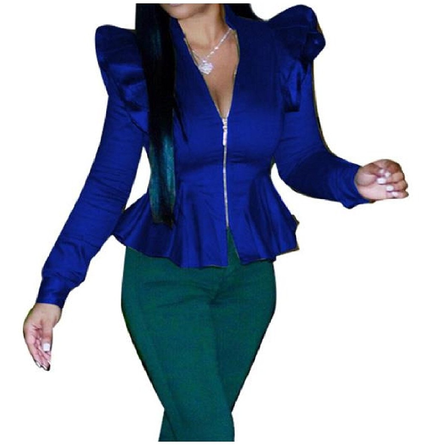Zimaes-Women Solid Colored Suit Flouncing Long-Sleeve Blazer Zip-up Stand Collar Blouse Shirt