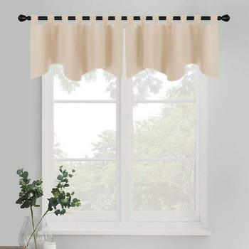 Window Treatments Blackout Tiers Tab Top Natural Scalloped Valance for Bathroom Kitchen Bedroom