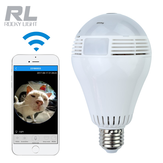 Fisheye 2.0 Megapixel bulb <strong>camera</strong> WiFi 360 Degree surveillance security lamp hidden <strong>camera</strong> with SD Card Speaker