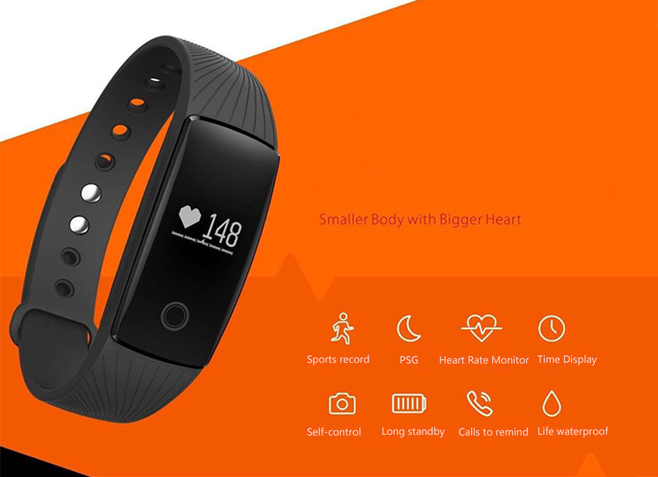 ID107 bt 4.0 Smart Bracelet band Health Heart Rate Monitor 107 Wristband Activity Fitness Tracker for Phone
