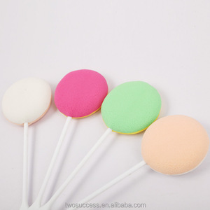 Lolly shape cosmetic sponge dry powder puff stick with plastic long handle
