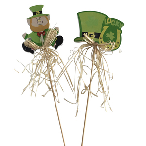 wooden easter lucky men on stick for garden decoration