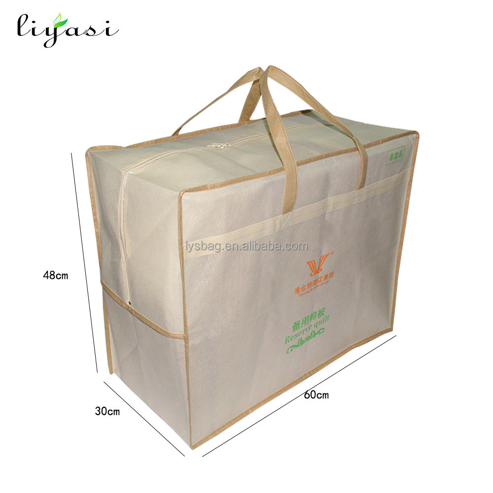 Cheap eco non woven fabric storage packaging quilt bag for bedding with logo