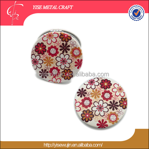 indian wedding favors wholesale beautiful flower elegant style mirrors round foldable compact pocket makeup mirror for ladies