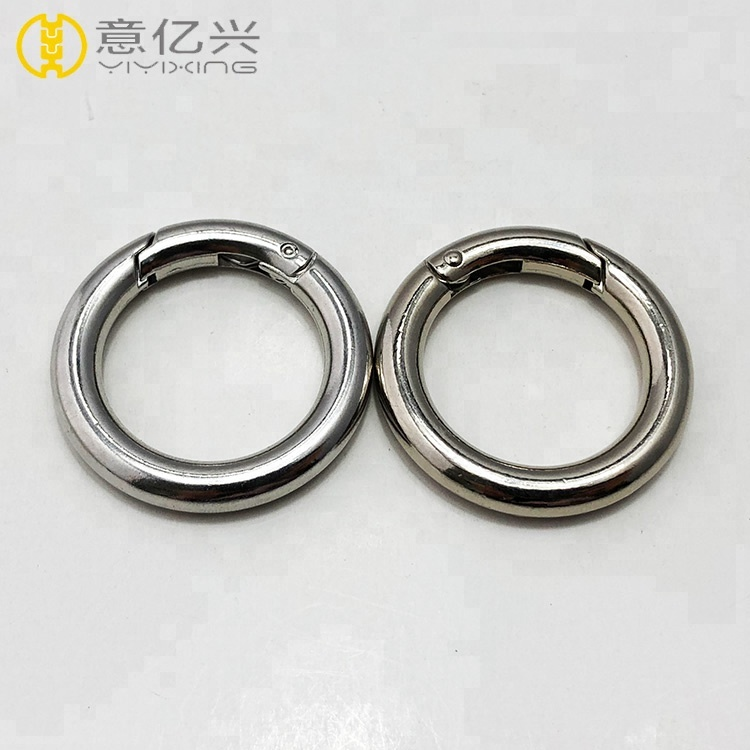 Shiny Silver Round Gate O Spring Loaded Gate Clips Hook <strong>Buckle</strong>