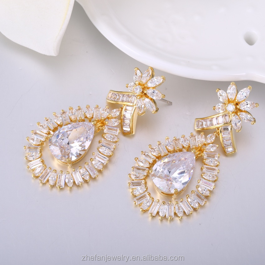 Brass earring finding gold plated long earring fashion jewelry suppliers