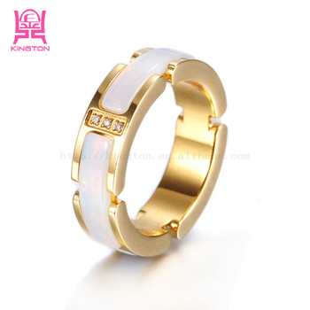 new 2014 latest design channel jewelry gold ring ceramic for men
