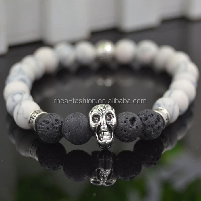 4b64e70d3052 Lava negro y blanco piedra turquesa pulsera cráneo brazaletes bijoux  pulseras cuerda cadena volcánica pulseras de