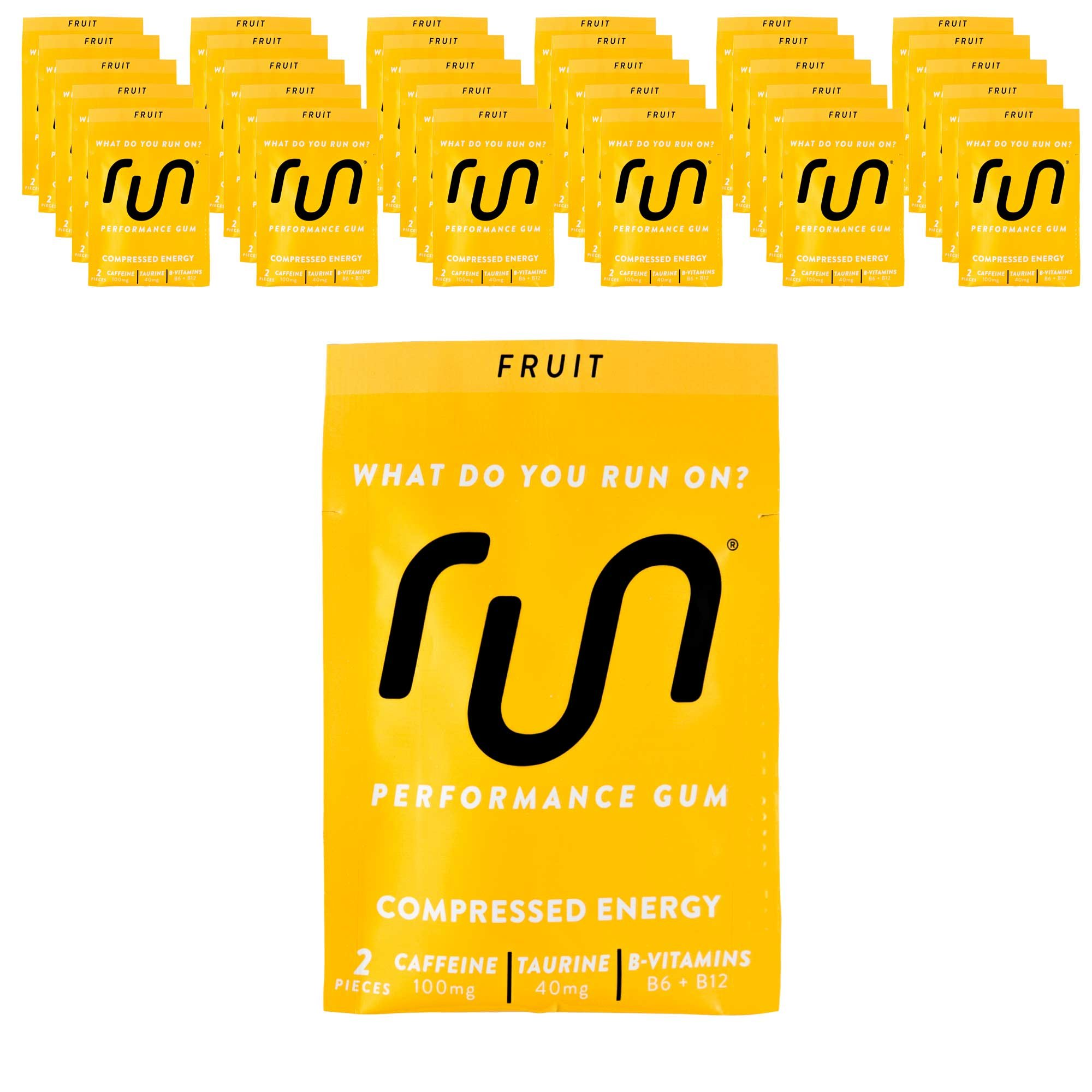 RUN GUM Fruit Energy Gum 50mg Caffeine Taurine & B-Vitamins (30pk), 2 Pieces = 1 coffee/Energy drink, Quick Energy Boost