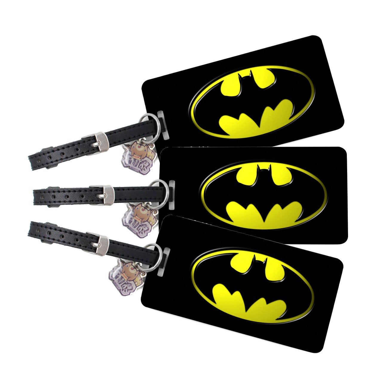 Custom Luggage Tag - Batman Luggage Tag - Personalized Luggage Tag - Set of 3 Custom Luggage Tags - Come with Genuine Leather Strap - Perfect Gift. Includes up to 5 Lines of Customized Text on back.