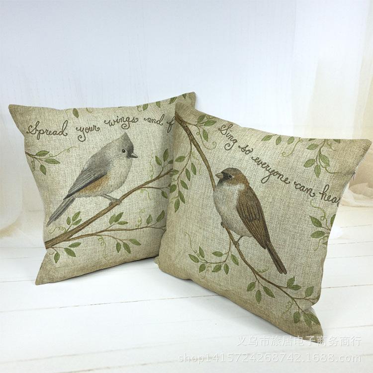 Home Decor Sofa Decorative Cushion Covers Bird Throw Pillow Case Car Capa Para Almofada Scandinavian Chair Housse De Coussin