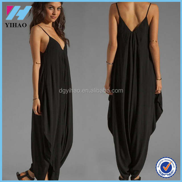 2015 Plus Size rompers womens jumpsuit Sleeveless Deep Spaghetti Strap V  Neck Beach coveralls Harem Romper 4f85060ad6c4