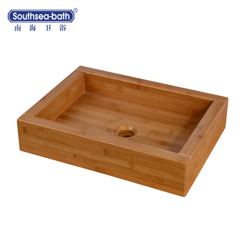 China square bamboo bathroom basins/sinks with mortise and tenon joint structure