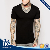 2017 Shandao New Casual Summer Men 180g 35% Cotton 65% Polyester Short Sleeve Black V-Neck Slim Fit T Shirt Yiwu