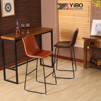 YIBO Modern popular cast metal iron bar stools steel induetrial Nordic home chair