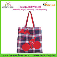 Uphill Mountain Cyclist Novelty Purse,Extra Large Purple Red Plaid Bicycle Shopping Tote Diaper Bag