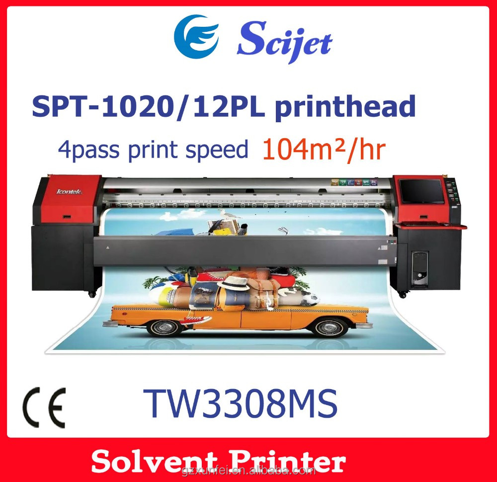 guangzhou large format Icontek solvent printer with SPT heads