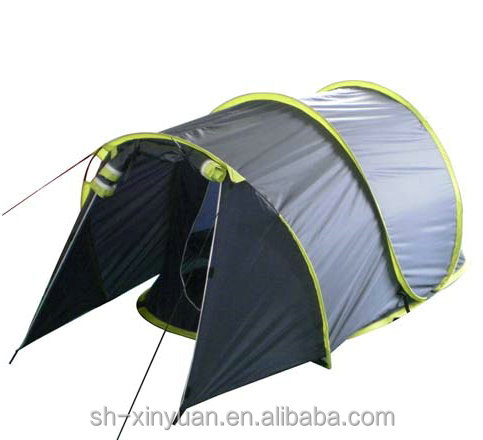 three poles single layer spring wire steel poles pop up camping tent
