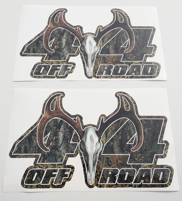 Tree camo 4x4 offroad vinyl wrap decals 2 with deer skull antlers