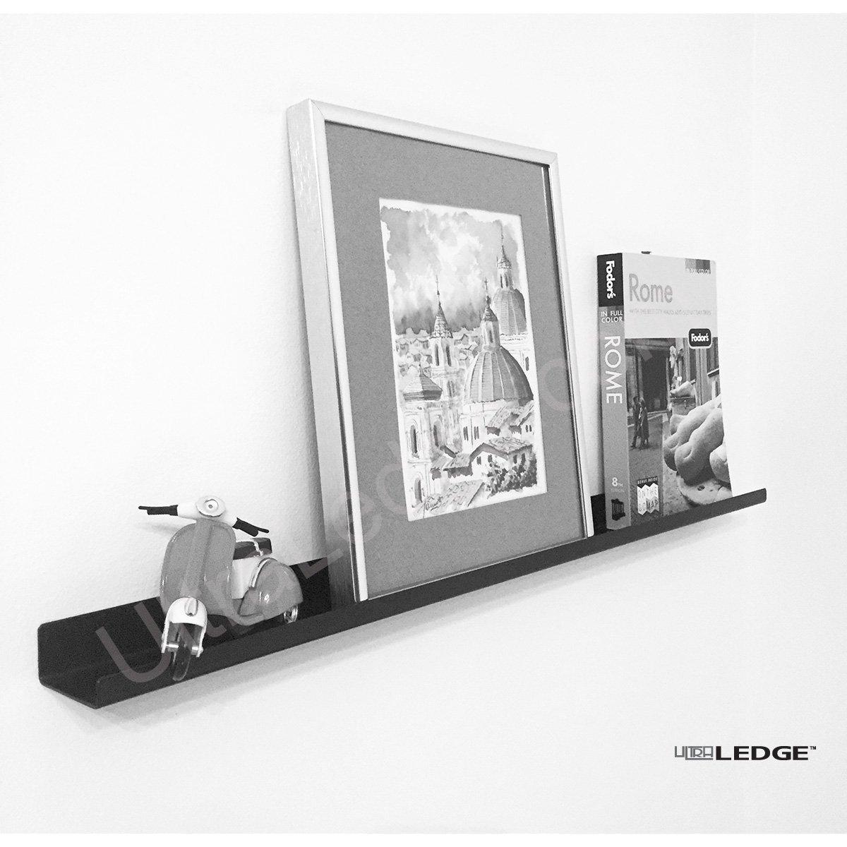 "2'/24"" UltraLedge Art Display / Picture Ledge / Floating Shelf, Metal, Modern (3.5"" deep, Black)"