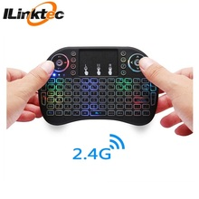 Backlit keyboard mini bluetooth, i8 mini wireless keyboard untuk <span class=keywords><strong>hisense</strong></span> pintar tv keyboard wireless mouse udara
