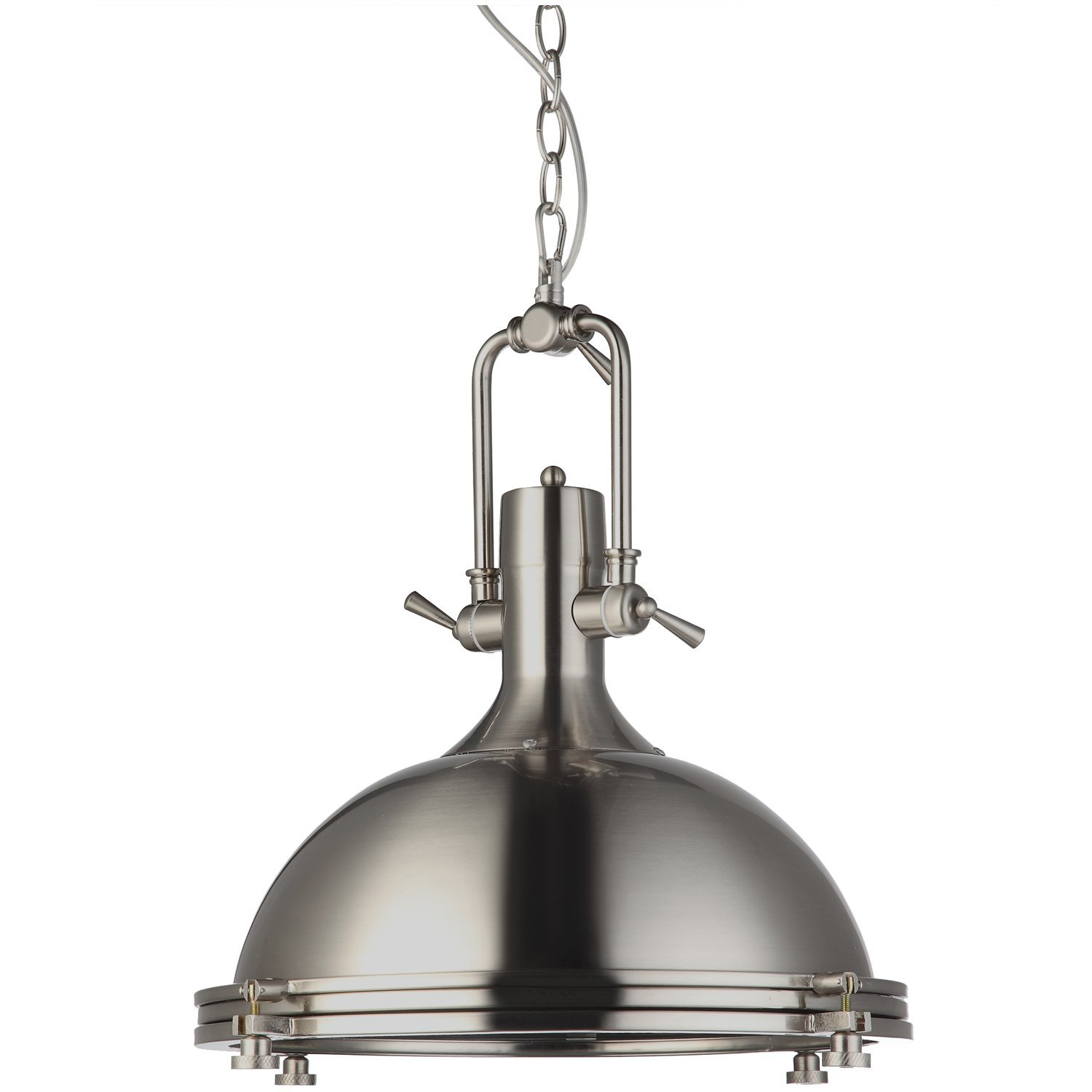 "VONN VVP21031SN Industrial 16"" LED Pendant Light, Industrial Pendant Lighting, Adjustable Hanging Light, Dorado Collection, Satin Nickel"