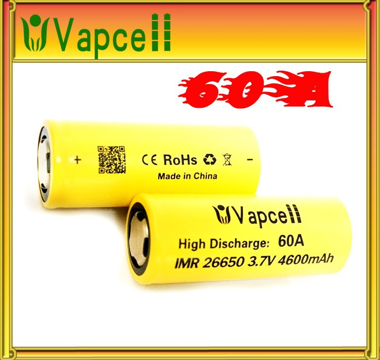 Original vapcell imr26650 4600mah lithium motorcycle battery vapcell 26650 60a high drain battery