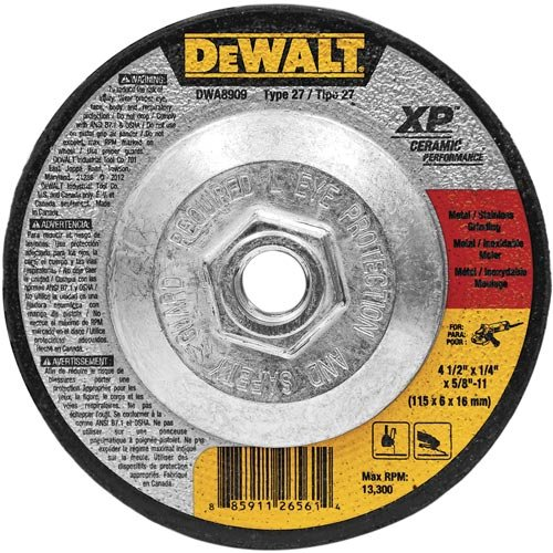 DEWALT DWA8909 Extended Performance Ceramic Metal Grinding 4-1/2-Inch x 1/4-Inch x 5/8-Inch -11 Ceramic Abrasive