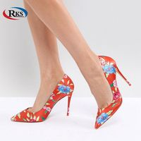 Traditional Heeled Court Shoe in Red Floral Print Ladies High Heel Shoes