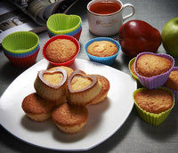12 Heart-Shaped 12 Round Non-Stick Heat Resist Silicone Baking Cups Cup cake Liners Muffin Cups