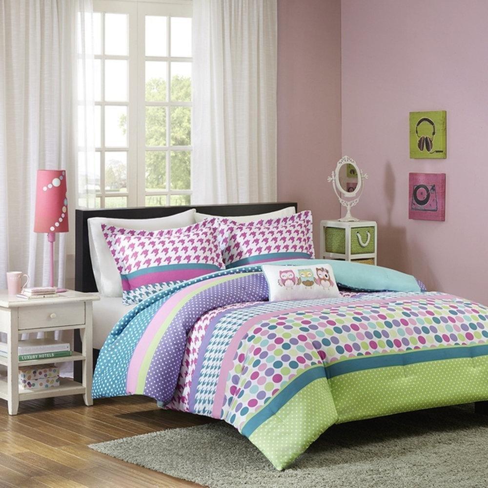 UNK 4pc Girls Rainbow Polka Dot Theme Comforter Full Queen Set, Pink Purple Blue Teal Green Aqua, Circle Small Dots Themed, Horizontal Stripe Pattern, Polkadot Houndstooth Plaid Bedding