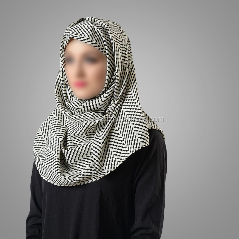 Islamic Clothing Classical Design Muslim White Black Print Hijab Turkish Style Scarves Modest Niqab