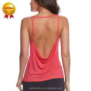 Yoga Palestra Fitness Tank Top Per La Donna, 100 Carro Armato Del Cotone Top Private Label, aprire Torna Tank Top