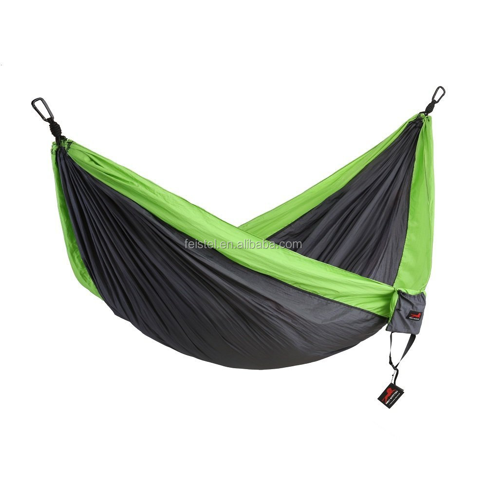 Wholesale Camping Parachute Nylon Hammock-Portable Outdoor Double Hammock with Hammock Straps & Aluminum Carabiners