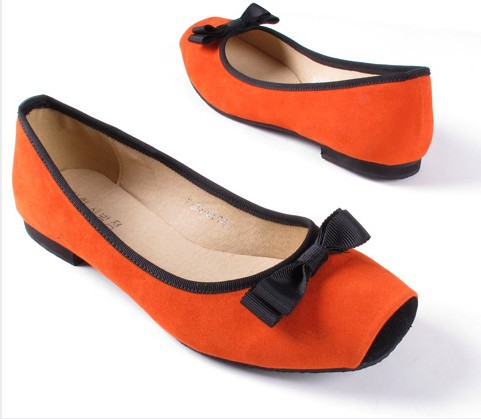 2015 sweet shallow mouth square toe women's flats velvet genuine leather bow flat plus size single shoes B537