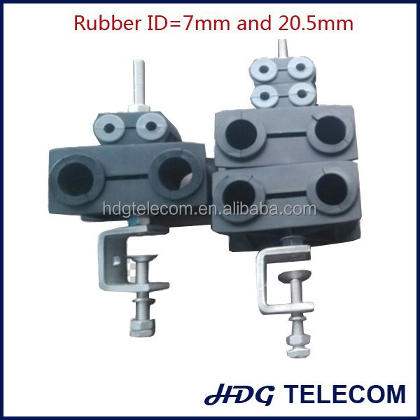 Fiber and power Cable Clamp with grommet, use for 7mm and 20.5mm cable