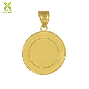 Custom embossed gold plated round gold coin pendant necklace