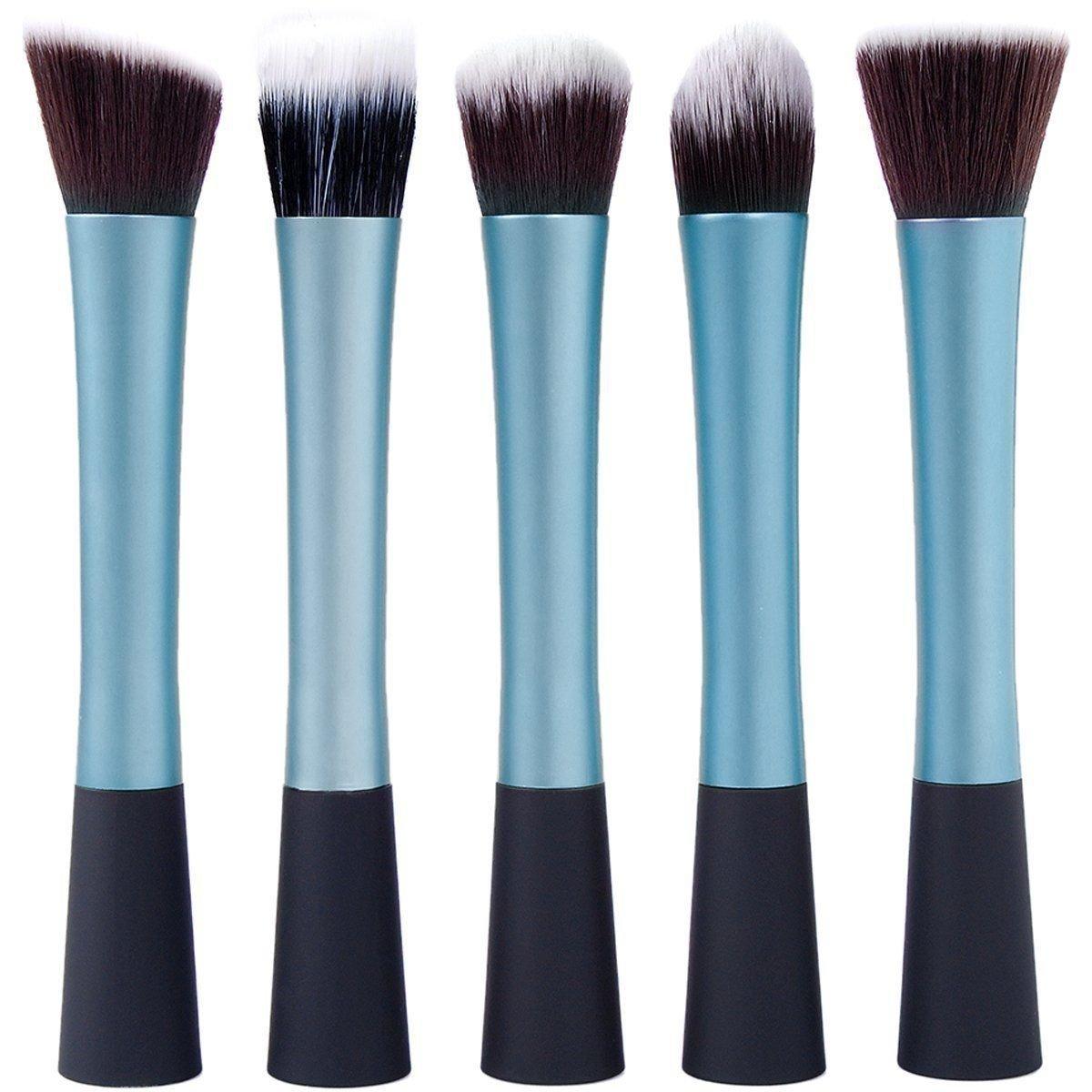 LyDia Professional Rose-Gold/Gold/Silver/Blue/Red-Pink/Black-Gold/Purple Powder/Foundation/Eyeshadow/Contour/Pointed Crease/Eyeliner/Blush Makeup Brush Set (5pcs Blue Set) by LyDia