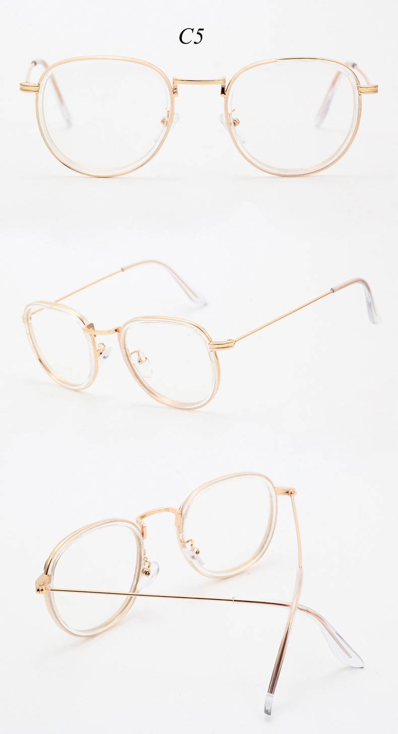 Fashion Gold Metal Frame Eyeglasses Women Vintage Glasses Clear Lens Optical Frames Men oculos de grau female with Pouch CC5025