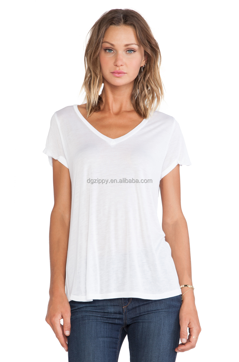 Women t shirt v neckline wholesale blank t shirts with Bulk quality t shirts