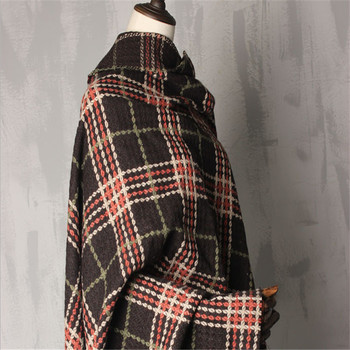 Good price fashion check design yarn dyed woolen black wool tweed fabric