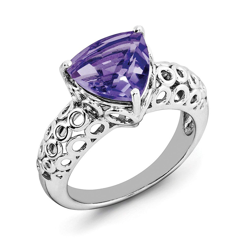 Best Designer Jewelry Sterling Silver Rhodium-plated Amethyst Ring