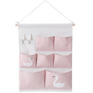 Wholesale 7 Pockets Swan Linen Storage Bag Hanging Wall Organizer