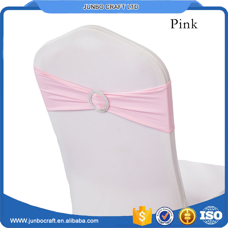 factory directly sale ruffled elastic / spandex chair sashes / band with buckle decoration for wedding