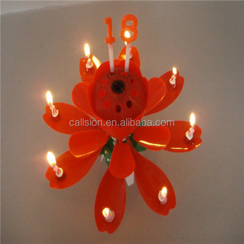 Wholesale Magic Sparking Opening Flower Indoor Firecraker Birthday Candle Fireworks Musical