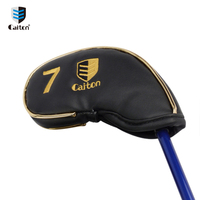 colorful Gold Leather Golf Iron Headcover For Protecting Golf Club A114-a