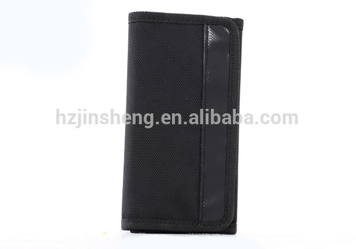 Durable nylon black snap button men's wallet